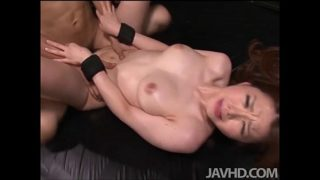 China Mimura is bound and toyed while blindfolded before having her furry muff